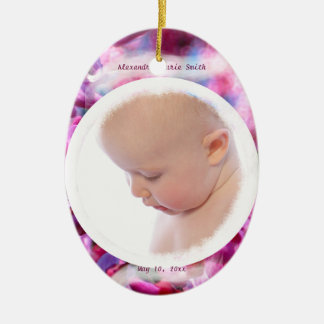 Pink Redbud Blossoms in Bloom Baby Girl Photo Ceramic Ornament