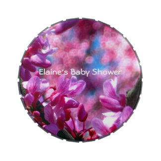 Pink Redbud Blossoms in Bloom Baby Shower Jelly Belly Tins
