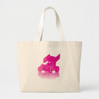 Pink Reflection Winged Sprint Car Large Tote Bag