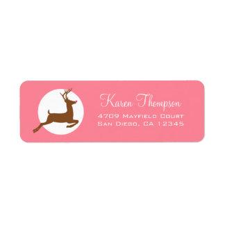 Pink Reindeer Holiday Address Labels
