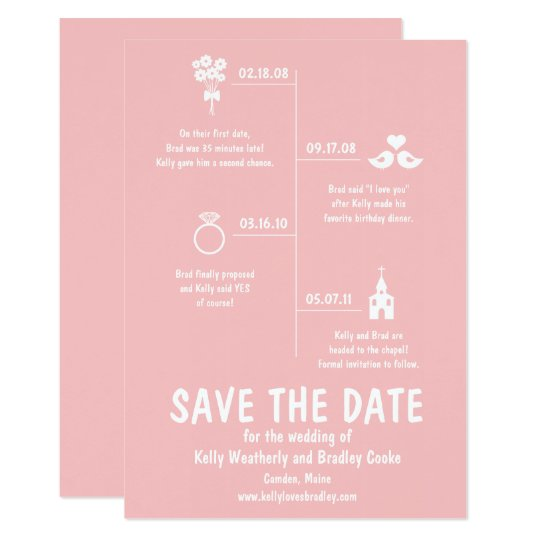 Pink Relationship Timeline Wedding Save The Date Invitation