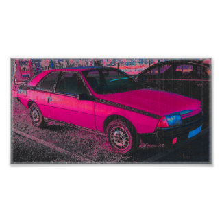Pink Renault Fuego Poster