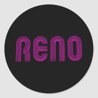 Pink Reno Sign Classic Round Sticker