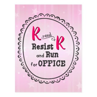 Pink Resist and Run for Office Postcard