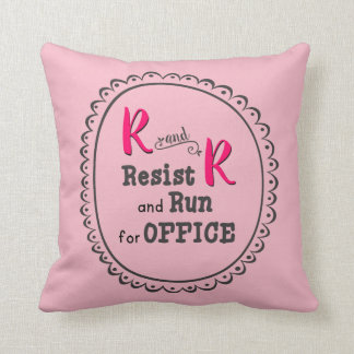 Pink Resist and Run for Office Throw Pillow