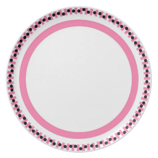 Pink Ret-tro Melamine Plate