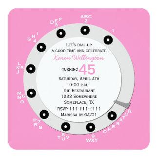 Pink Retro 45th Birthday Party Invitation Rotary