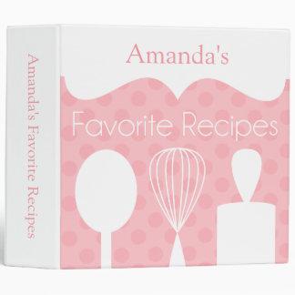 Pink Retro Baking Utensils Recipe Binder