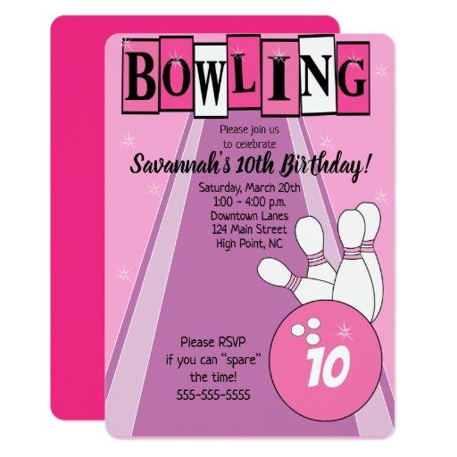 Pink Retro Bowling Die Cut Girl Birthday Invite