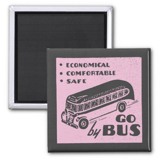 Pink Retro Bus Magnet