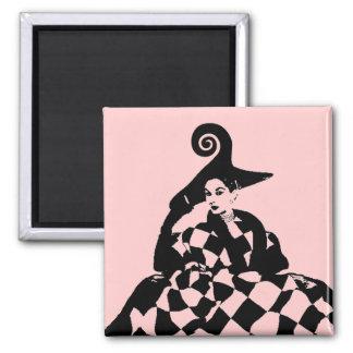 Pink Retro Checker & Swirl High Fashion Woman 2 Inch Square Magnet