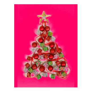 PINK RETRO Christmas tree glow Postcards