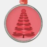 Pink Retro Christmas Tree Ornament