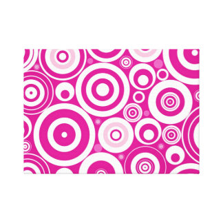 Pink Retro Circles Canvas Print