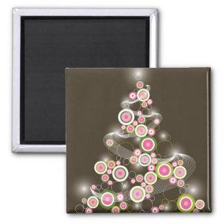 Pink Retro Circles Christmas Tree Gift Magnet