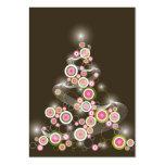 Pink Retro Circles Christmas Tree Mini Invitation Large Business Card