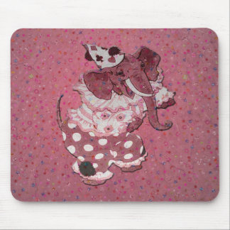 Pink Retro Circus Elephant Mouse Pad