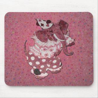 Pink Retro Circus Elephant Mousepads