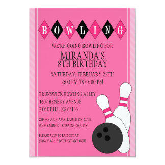 Pink Retro Custom Bowling Birthday Party 5x7 Paper Invitation Card