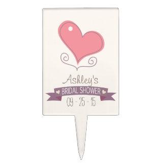 Pink Retro Doodle Heart Bridal Shower Cake Picks