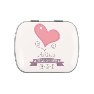 Pink Retro Doodle Heart Bridal Shower Jelly Belly Candy Tins