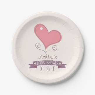 Pink Retro Doodle Heart Bridal Shower 7 Inch Paper Plate