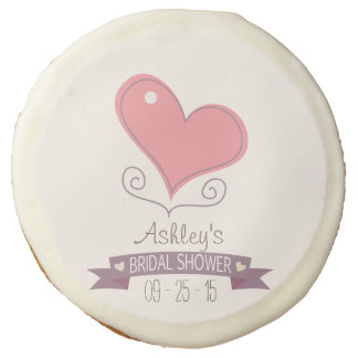 Pink Retro Doodle Heart Bridal Shower Sugar Cookie