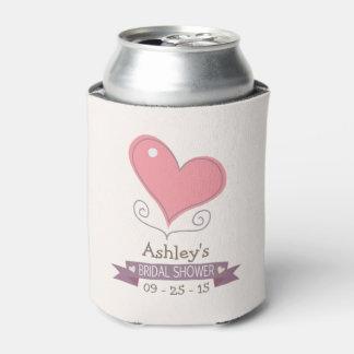 Pink Retro Doodle Heart Bridal Shower Can Cooler