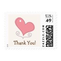 Pink Retro Doodle Heart Thank You Postage