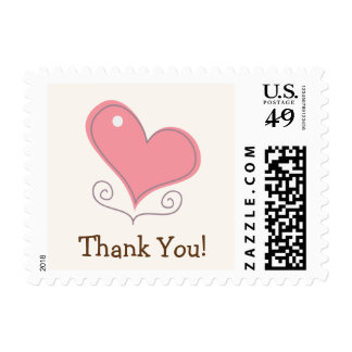 Pink Retro Doodle Heart Thank You Stamps
