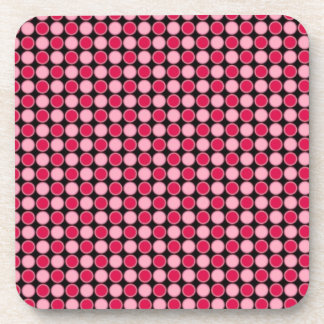 Pink Retro Dot Checkerboard Drink Coaster