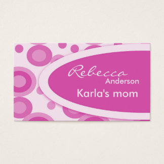 Pink Retro Dots Mommy  Calling Cards