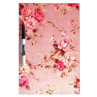 Pink Retro Floral Pattern. Dry-Erase Board
