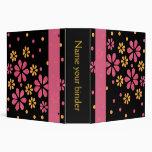 Pink Retro Flowers Dots 2 inch Designer Binder