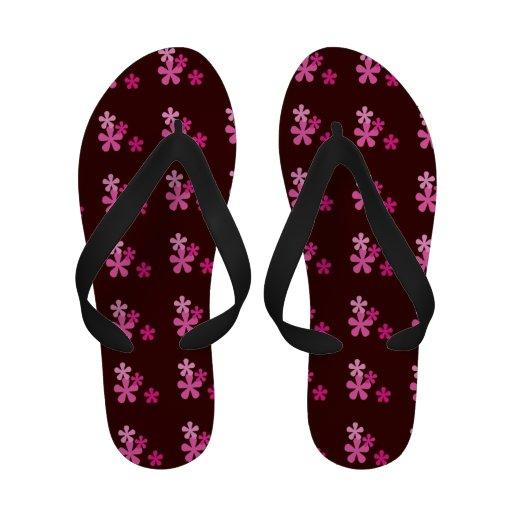 Pink Retro Flowers Flip Flops