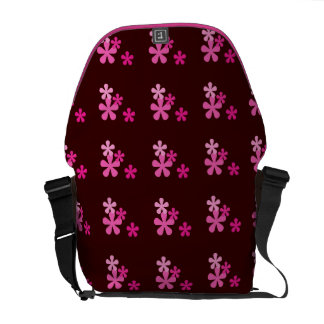 Pink Retro Flowers Messenger Bag
