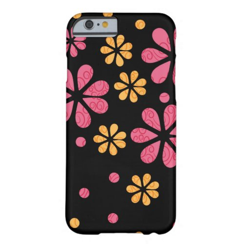 Pink Retro Flowers On Black Barely There iPhone 6 Case