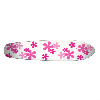 Pink Retro Flowers Skateboard