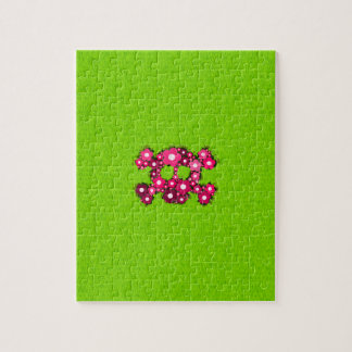 Pink Retro Flowers Skull on Green Grass Pattern Jigsaw Puzzles