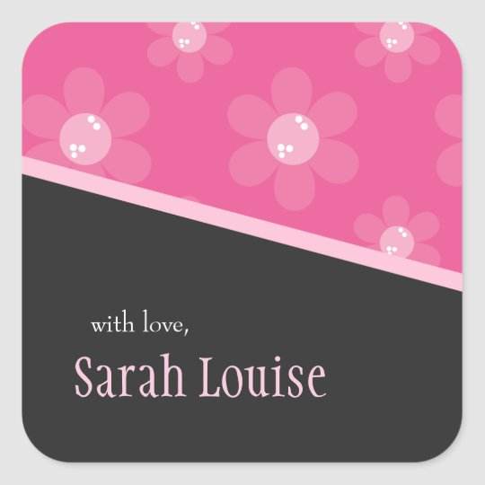 Pink Retro Flowers | Square Gift Stickers