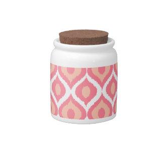 Pink Retro Geometric Ikat Tribal Print Pattern Candy Dish