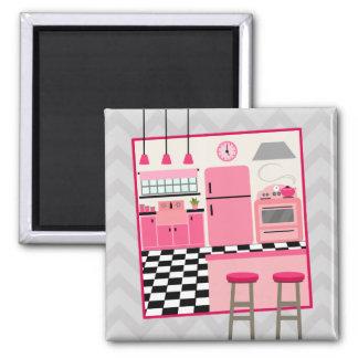 Pink Retro Kitchen Magnet