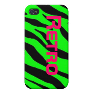 Pink Retro Letters on Neon Green Zebra Stripe Covers For iPhone 4