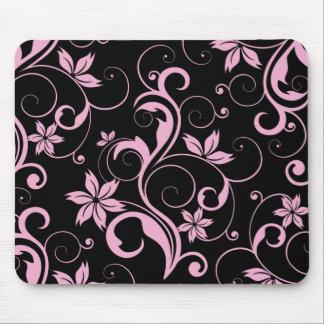 Pink Retro Modern Floral Pattern Elegant Mousepad