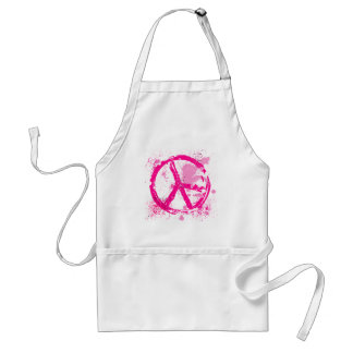PINK RETRO PEACE SIGN ADULT APRON