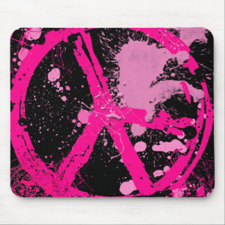 PINK RETRO PEACE SIGN MOUSE PAD