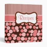 Pink Retro Polka Dots Recipe Binder