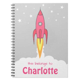 Pink Retro Rocketship Cute Cartoon Personalized Notebook