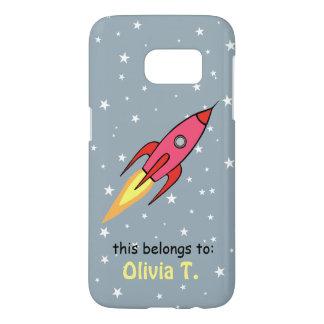 Pink Retro Rocketship Cute Personalized Name Samsung Galaxy S7 Case