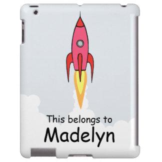 Pink Retro Rocketship Kids Personalized iPad Case
